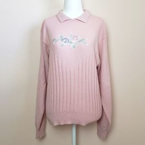 Vintage Pink Floral Sweater with Collar